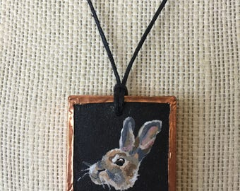 Painted rabbit pendant, Rabbit necklace art, Rabbit jewelry necklace, Bunny lover necklace, Pet rabbit accessories, Bunny gifts for her