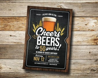 Cheers and Beers invitation, beer, 21st, 30th, 40th, 50th, 60th, 70th, Beer Birthday Party Invitation, adult birthday, cheers, Printable