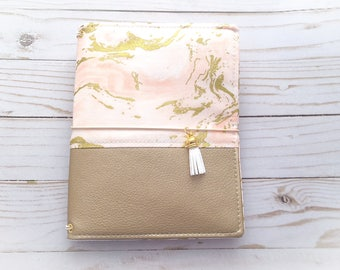 B6 Marble and Gold Fabric Cover Fauxdori, Travelers Notebook