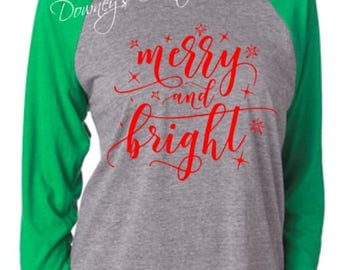 Merry and Bright Raglan 3/4 Sleeve Shirt/Unisex T-Shirt/Multiple Colors