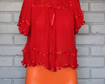 Vintage 1970's Red ruffle crop Top