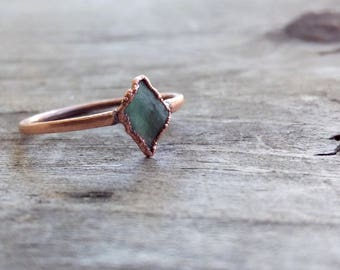 Raw Emerald Copper Electroformed Ring   Size 8
