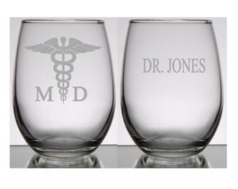 Doctor Gift Ideas, Doctor Wine Glass, MD Wine Glass, Doctor Christmas Gift, MD Christmas Gift Idea, Doctor Wine Glass, Doctor Retirement