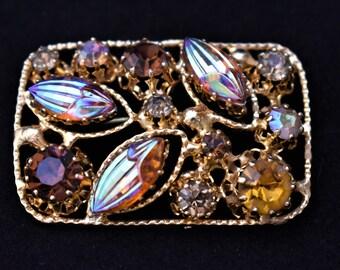 "Vintage Mid Century Aurora Borealis Rhinestone Rectangle Statement Brooch Marked Made in Austria 1.75"""