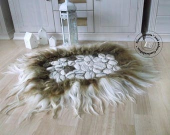 Felted wool carpet, eco-friendly long-haired raw wool rug, rug stone look, felted wool OOAK rug, pet-friendly rug, Felt Fur, homedecor hygge