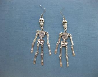 Large Wiggly Skeleton Earrings - Dangle Earrings - Halloween Earrings - Halloween Jewelry - Earrings - Skeleton - Holiday Earrings -- E120