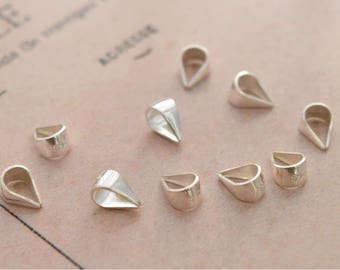 10 of 925 sterling silver 6mm pinch bail bails TG5