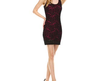 Fashionazzle Women's Casual Stretch Lace Bodycon Mini Dress