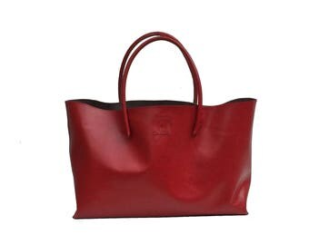 XXL Leather Shopper Big Shopper shopping bag red handmade