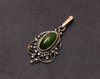 Sterling silver natural jade (nephrite) pendant. Made in USSR