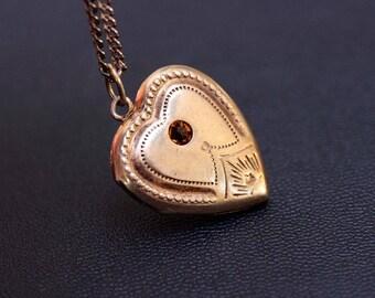 Sterling silver heart shaped vintage locket pendant. Made in USSR