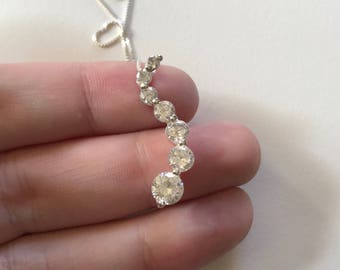 Vintage White Cubic Zirconia Drop 925 Sterling Silver Pendant Necklace
