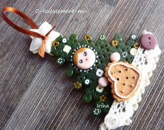 Christmas hanging tree beaded pixel face Russian doll matryoshka kawaii cold porcelain hand painted