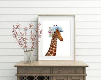 Giraffe Wall Art,printable Art, Giraffe Gift, Giraffe With Flowers, Giraffe  Print