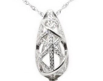 925 silver teardrop pendant, pearl cage rhinestone teardrop pendant, hollow teardrop cage pendant necklace, wish pearl cage charm, F3185-P