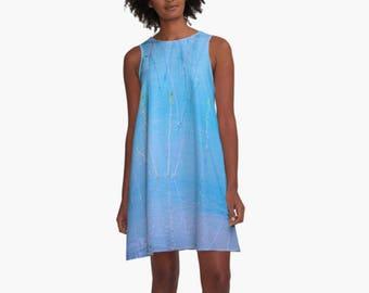 Bright Blue Summer Dress ~ Beach Cover Up, Blue Sleeveless Dress, Tank Dress, Abstract Print A-line Dress, Women's Clothing XS S M L XL 2XL