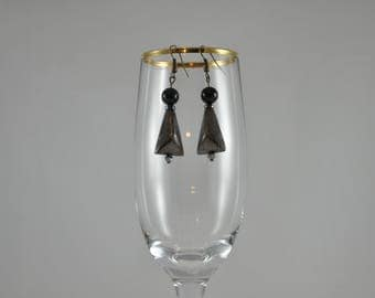 Triangle earrings, Geometric earrings, Copper earrings, Bronze earrings, Black earrings, Dangle earrings