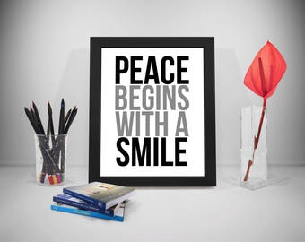 Peace Begins With A Smile Quote, Smile Quotes, Peace Quotes, Smile Prints, Peace Prints Poster, Peace Poster