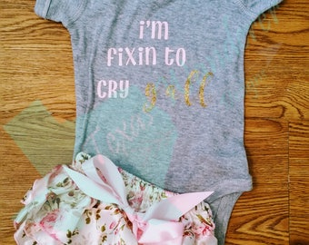 Fixin to cry y'all BodySuit Onesie®, Southern baby, Dixie, Baby shower, y'all shirt, Take Home Outfit, cry in a southern accent