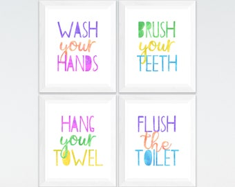 Bathroom Print Set Wash Your Hands Brush Teeth Hang Towel Flush The Toilet