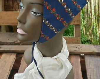 Blue floral bandanna/hippy bandanna/floral bandanna/80's bandanna/hippy floral bandanna