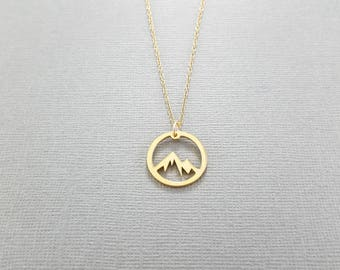 Gold Mountain Necklace, Mountain Jewelry, Circle Mountain Range Jewelry, Yellow Gold Mountain Charm Necklace