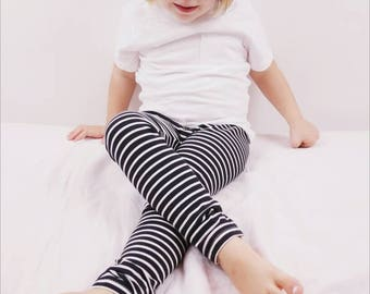 Black and White Striped Baby Leggings - toddler leggings - baby boy leggings - baby girl leggings - hipster baby leggings - toddler boy girl