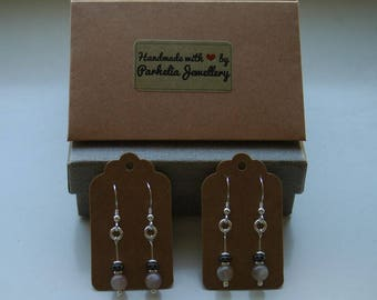 Handmade Sterling Silver, Moonstone & Hematite Earrings.