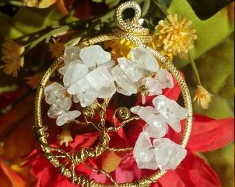 Yggdrasil tree of life pendant - rock crystal