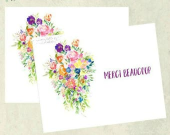 Thank You Card - Floral Bouquet - Merci Beaucoup - French - Notecard Set - Stationery