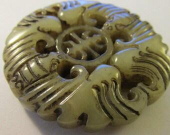 "Carved Chinese Jade Money Bat Pendant, 2"""