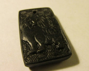 Black Cinnabar Tile Pendant with Chinese Dog Motif, 1 3/8""