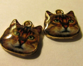 Alley Kitty Cat Face Charms, 12mm, Set of 2