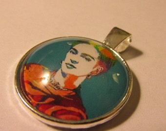 "Silver Tone Glass Dome Cabochon Pendant of Artist Frida Kahlo, 1"""