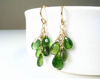 Chrome Diopside Earrings, Green Stone Earrings, Gemstone Earrings, Green Gemstone, Elegant Earrings, Wire Wrapped, 14K Gold Filled