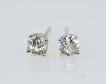 Vintage 14K White Gold Diamond Stud Earrings Circa 1910 app..80 ct tw.