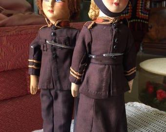 Rare Circa 1920 Antique Boudoir Doll s  dolls Vintage Salvation Army Cabinet Size