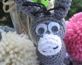 Donkey amigurumi keychain and bag charm, Donkey amigurumi, Donkey keychain