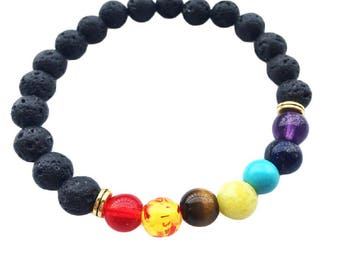 Genuine Lava Stones Chakra Bead Bracelet ~ Made with Natural & Resin Gemstones ~ Fashion Jewellery in Gift Pouch