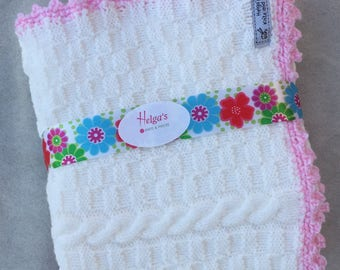 Baby Blanket in White with Pink Crochet Trim - Hand Knit