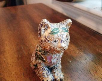 Cloisonne cat, cloisonne figurine, gift for Mom, cat lover, cat gift, office decor