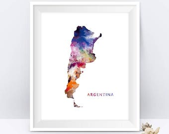 Argentina Map Print Watercolor Buenos Aires Argentina Poster Wall Art Painting Travel Poster Home Office Decor Gift Digital Download