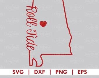 Alabama Crimson Tide Roll Tide State Outline SVG DXF Silhouette Cameo Cricut Cut File