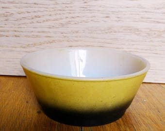 RARE Fire King Ombre milk glass bowl dessert over proof late 60s mustard yellow black Anchor Hocking vintage