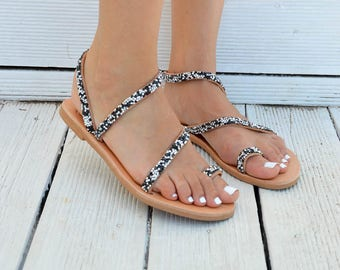Strappy Sandals, Leather Sandals, Toe Ring Sandals, Gladiator Sandals, Made in Greece by Christina Christi Jewels