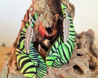 Zebra fabric and feather earrings