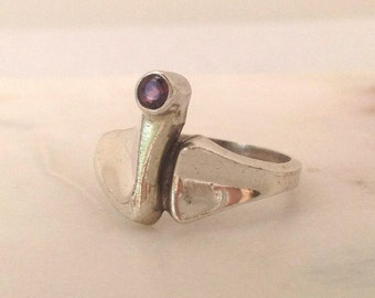 1960s modernist silver ring