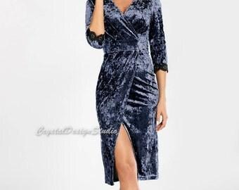 Prom dress velour Dress Dark blue Holiday Dress velours Dress Emerald Cocktail Dress Party dress Violet Evening dress Midi dress bridesmaids