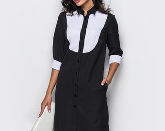 Office dress black Elegant dress casual Midi dress 3/4 sleeve Casual womens dress Knee navy blue dress white cuff Day dress with pockets