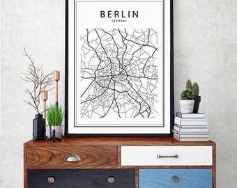 berlin map etsy. Black Bedroom Furniture Sets. Home Design Ideas